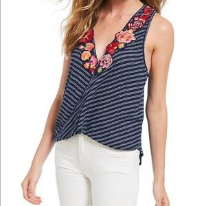 Free People Frida Embroidered Floral Stripe Top
